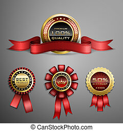 Award ribbon - Vector set of red award ribbons and golden...