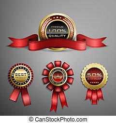 Award ribbon - Vector set of red award ribbons and golden ...