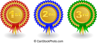 Award ribbons set - Illustration of 1st, 2nd and 3rd place ...