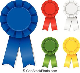 Set of award ribbons in five different colors. Colors are just a few global swatches, so file can be recolored easily. Each element is grouped separately for easy editing.