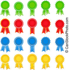 Set of vector award ribbons on white background