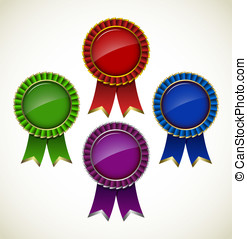 Award rosette - Award Rosette - Ribbon Icon - vector set...