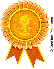award rosette label with crown