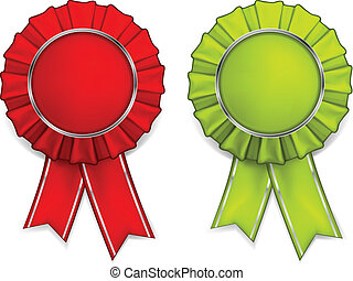 Award rosettes - Award red and green rosettes with medals...
