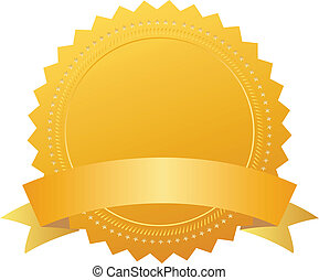 Award seal with ribbon - Blank award seal with ribbon, add...