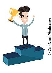 award., sien, homme affaires, business, fier
