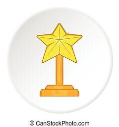Award star icon, cartoon style