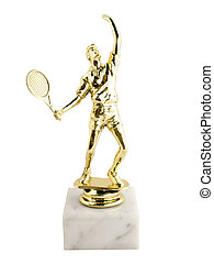award statuette Tennis isolated on a white background