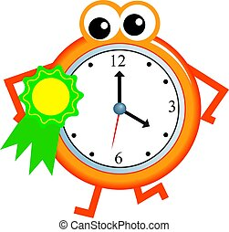 award time - Cartoon clock man wearing a rosette ribbon ...
