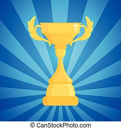 Award trophy vector illustration. Cup of the winner on a blue striped background with light.