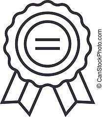 award vector line icon, sign, illustration on background, editable strokes