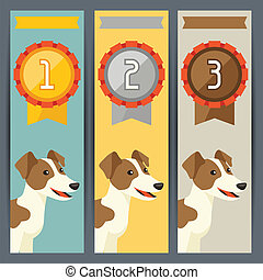 Award vertical banners with dog winning medal.
