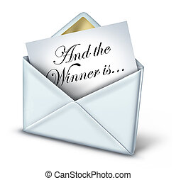 Award winner envelope with a white letter and gold trim unveiling the name of the winning recipient as a symbol of business or entertainment success and achievement on a white background.