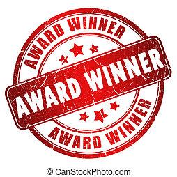 Award winner stamp isolated on white