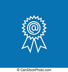 Award with at sign line icon.