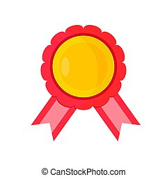 Award with red ribbons on a white background. Vector illustration