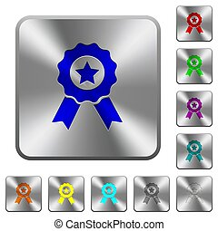 Award with ribbons rounded square steel buttons
