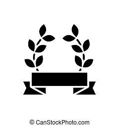 award wreath icon, vector illustration, black sign on isolated background