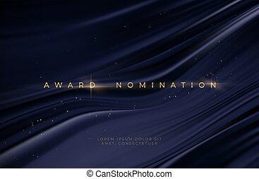 Awarding the nomination ceremony luxury black wavy background with golden glitter sparkles. Vector background EPS10