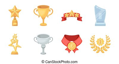 Awards and prizes icons in set collection for design.Reward aa achievement vector symbol stock web illustration.
