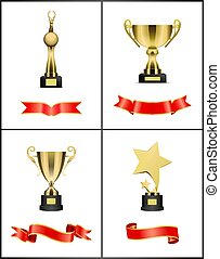 Awards and Trophies Icons Set Vector Illustration