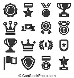 Awards and Trophy Icons Set. Vector