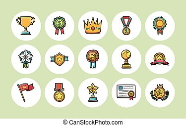 Awards and trophy icons set,eps10