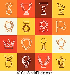 Awards and trophy sport or business line icons set.