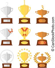 Awards cups icons set.