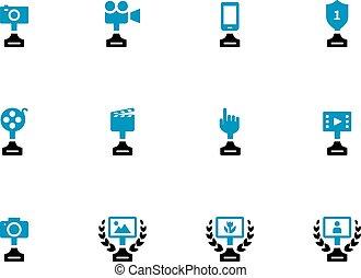 Awards duotone icons on white background.