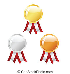 Awards - Golden, silver and bronze medals with ribbons. ...