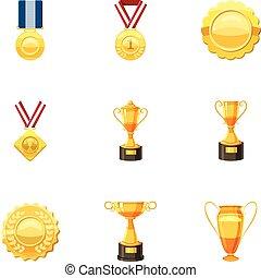 Awards icons set, cartoon style