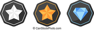 Vector set with awards icons of silver or platinum, gold, diamond