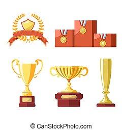 Awards of champion golden cup or goblet prize
