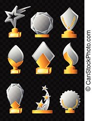 Awards - realistic vector set of trophies