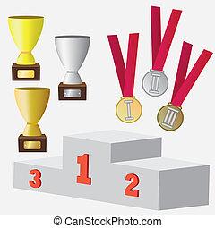 awards., set, medaglie, tazza