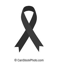 Awareness black ribbon. Melanoma & skin cancer. Vector