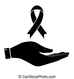 Awareness ribbon in hand icon,