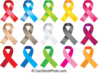 Awareness ribbons in different colors. Vector illustration.