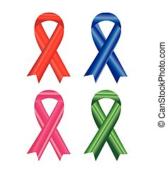 Awareness ribbons isolated on white background.