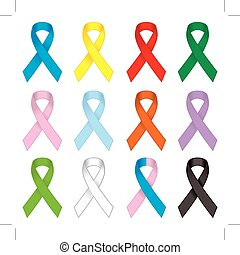 Awareness ribbons set  Different colors awareness satin