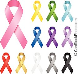 Awareness Ribbons - Set of realistic vector awareness ...