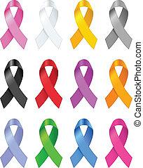 Awareness ribbons. Vector illustration.