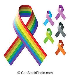 Awareness ribbons - Vector illustration of awareness ribbons
