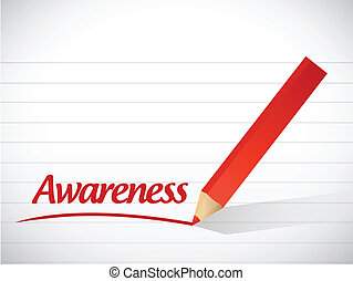 awareness sign message illustration design over a white ...