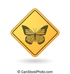 Awareness sign with  a butterfly
