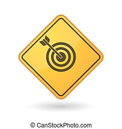 Awareness sign with a dart board - Illustration of an...