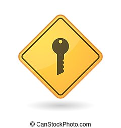Awareness sign with a key