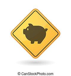 Awareness sign with  a pig