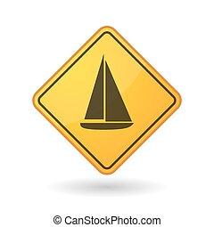 Awareness sign with  a ship